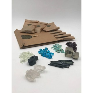 pack of eight mineral bags in craft paper with minerals out in sample