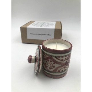 eco soya candle in an artisan ceramic recipient