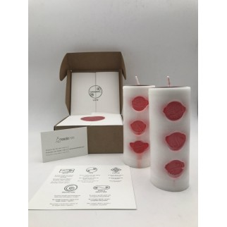 gift pack of two love candles with the three symbols in red