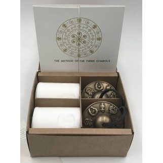 detail of the gift box for the tibetan cymbals and candles with the symbol of peace and harmony