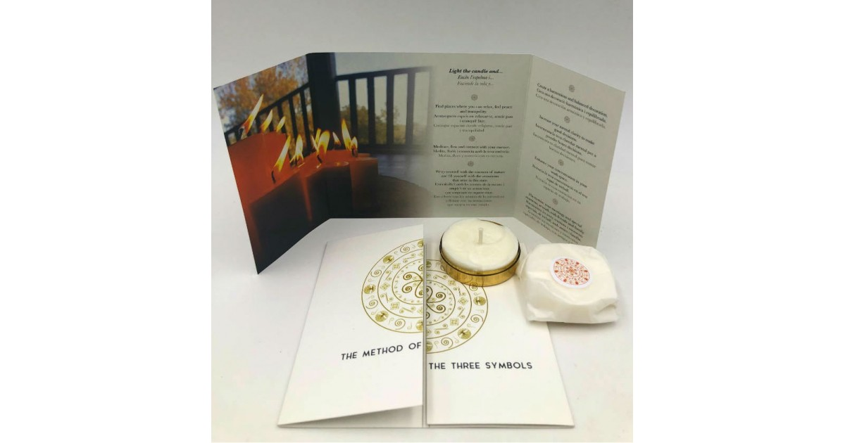 pack of two gratitude meditation candles with the metal box and brochures