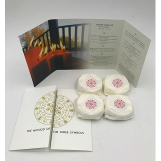 pack of refillings of four love meditation candles with brochures