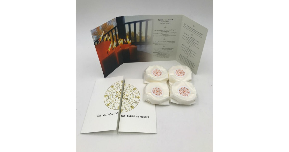 pack of four refillings of gratitude meditation candles with the brochure