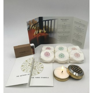 sis refillings of the meditation candles with peace and harmony, love and gratitude, a lighted candle and a box of matches