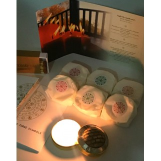 sis refillings of the meditation candle, with peace and harmony, gratitude and love, matches a lighted candle and brochures