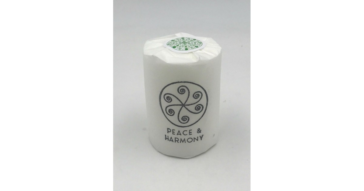 Peace and harmony candle with silk paper wrap and a green mandala