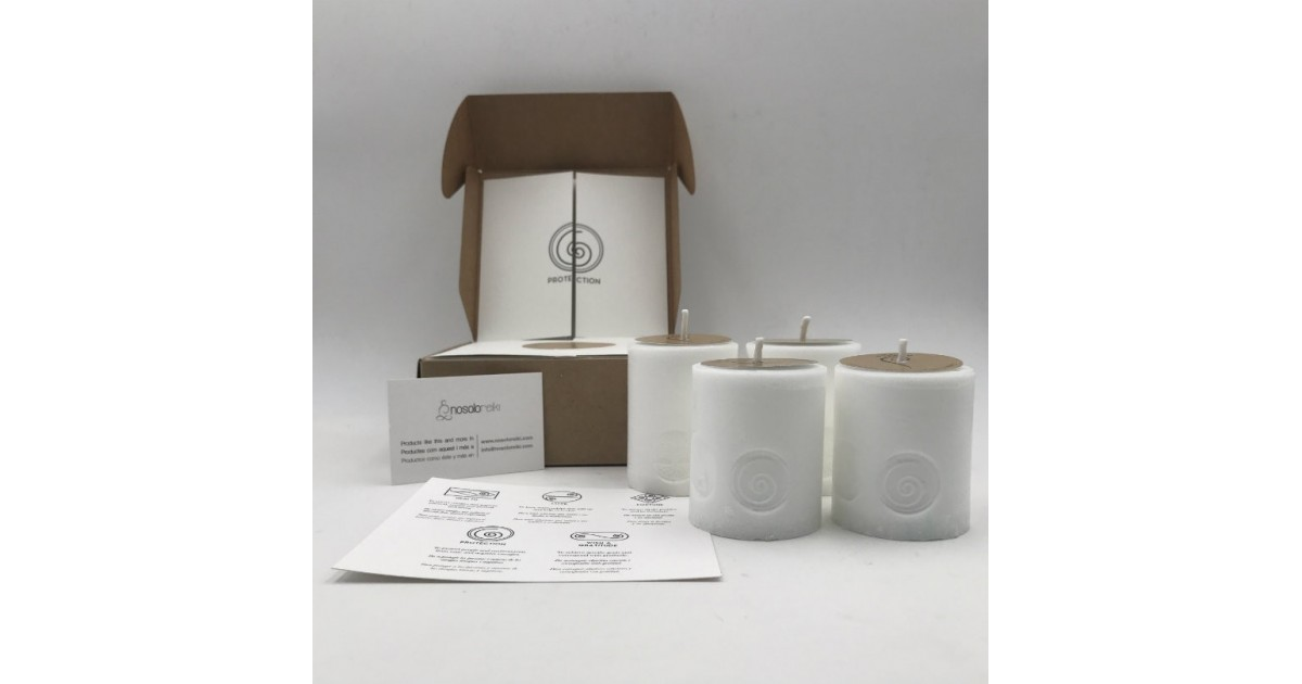 pack of four candles with protection symbol in a gift box