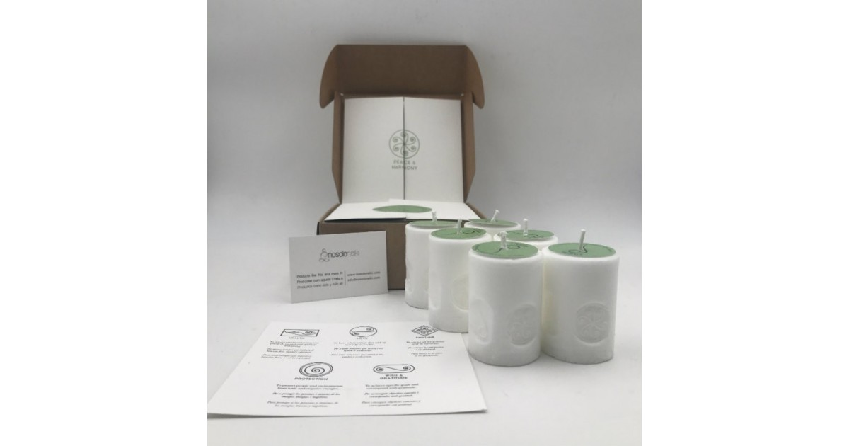 pack of six candles of peace and harmony with the symbol engraved and in a gift box