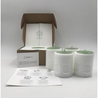 pack of four candles of peace and harmony with the symbol engraved and in a gift box