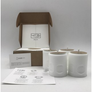 pack of four candles for health with the symbol engraved and in a gift box