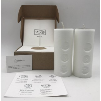 pack of two candles for health with the symbol engraved and in a gift box