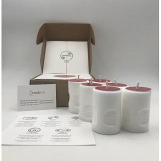 pack of six candles for love with the symbol engraved and in a gift box