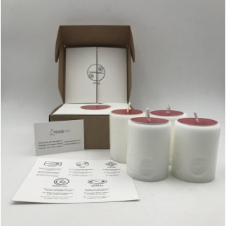 pack of four candles for love with the symbol engraved and in a gift box