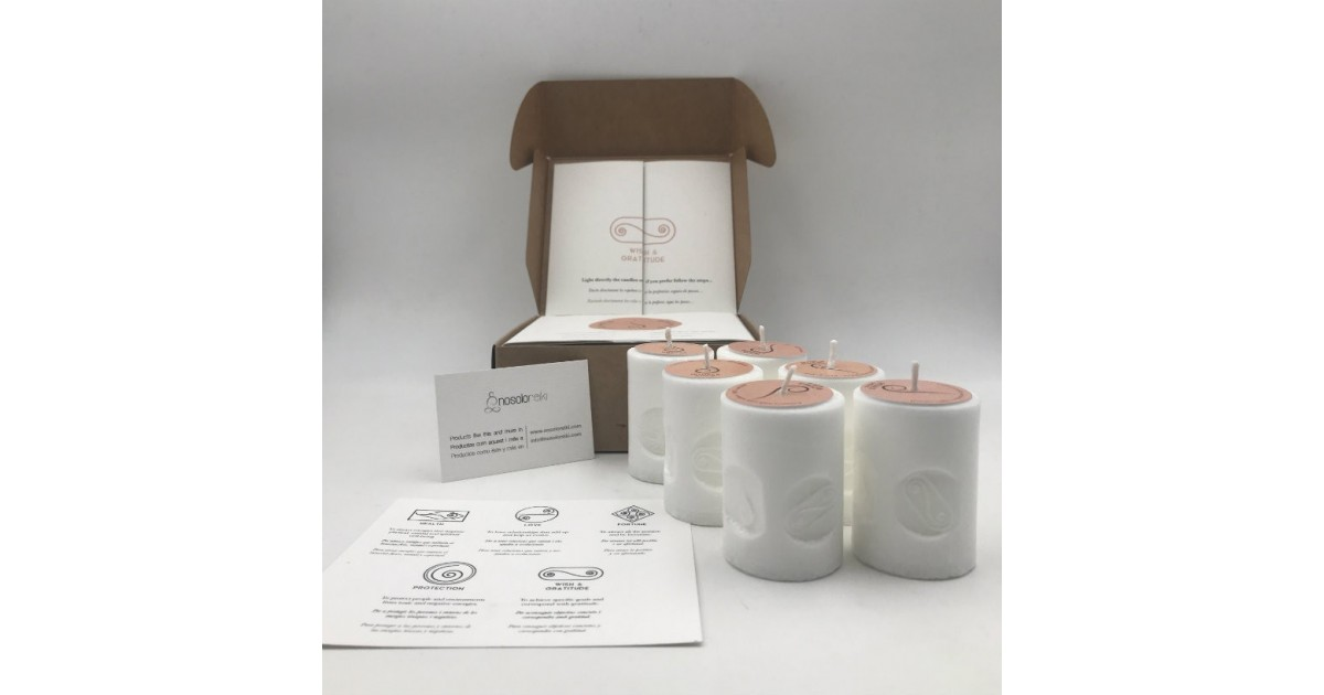 pack of six candles for gratitude with the symbol engraved and in gift box