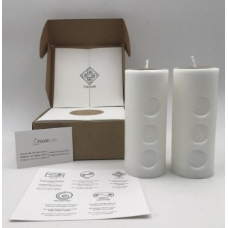 pack of two candles for fortune with the symbol engraved and in a gift box