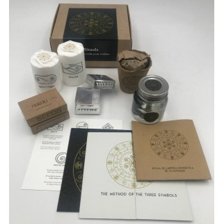 ritual of energetic cleansing your interior with all components out of the gift box, stones, water, candles, ...
