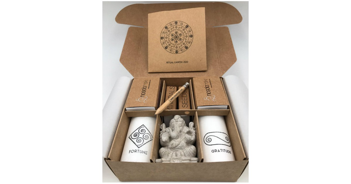 Open box with all components of Ganesh Ritual