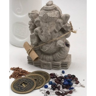 Ganesh Figure in detail with the coins and the minerals and the petition