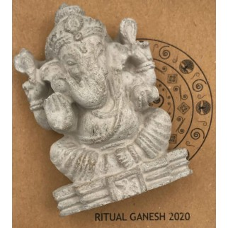 Ganesh figure with the brochure
