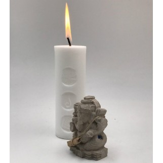 Lighted fortune candle with the Ganesh figure